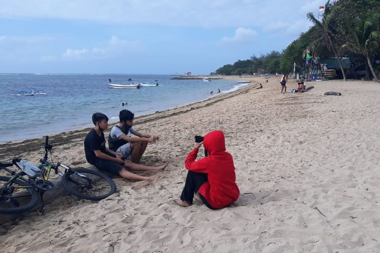 Suasana Pantai Sindhu, kawasan Sanur, Denpasar, Bali, Kamis (9/7/2020).
