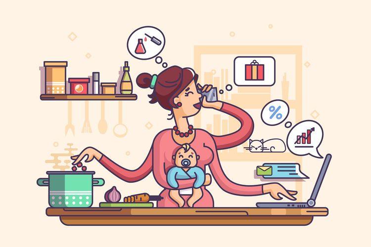 Ilustrasi perempuan dengan kemampuan multitasking yang makin bertambah saja saat ada situasi seperti pandemi corona saat ini.