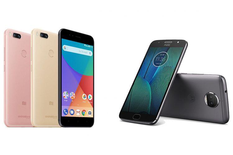 Ponsel kamera ganda Xiaomi Mi A1 (kiri) dan Motorola Moto G5S Plus.