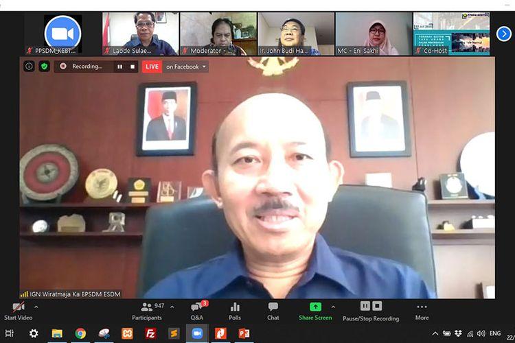 Kepala BPSDM ESDM IGN Wiratmaja Puja dalam webinar Peranan Sistem Tata Udara dalam Pencegahan Penularan Covid-19, Rabu (22/7/2020). (Dok. ESDM)