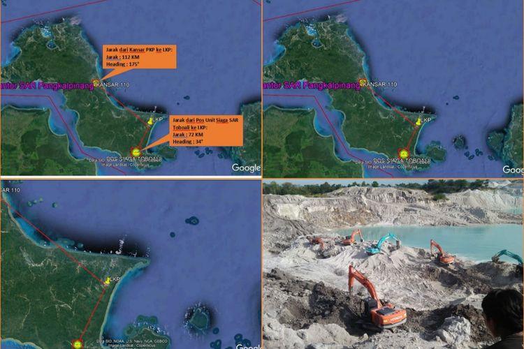 Pemetaan tim SAR Pangkalpinang terkait kawasan tambang yang longsor di Lubuk Besar, Bangka Tengah, Sabtu (29/8/2020).