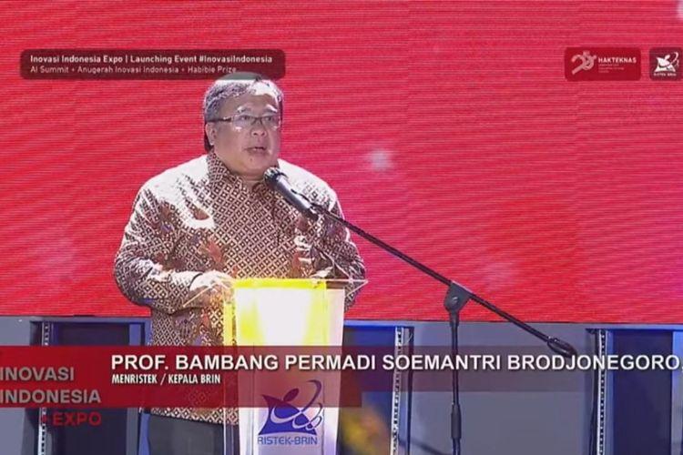 Menristek Bambang Brodjonegoro pada pembukaan Inovasi Indonesia Expo 2020.