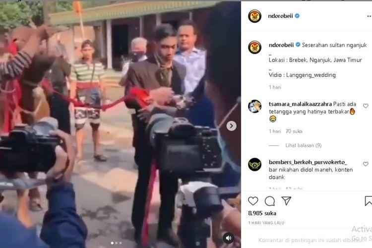 Tangkapan layar unggahan video akun @ndorobeii yang viral di instagram