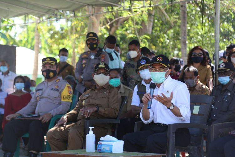 Menko PMK Muhadjir Effendy saat kunjungan ke Kabupaten Kupang, Nusa Tenggara Timur, Senin (3/5/2021).