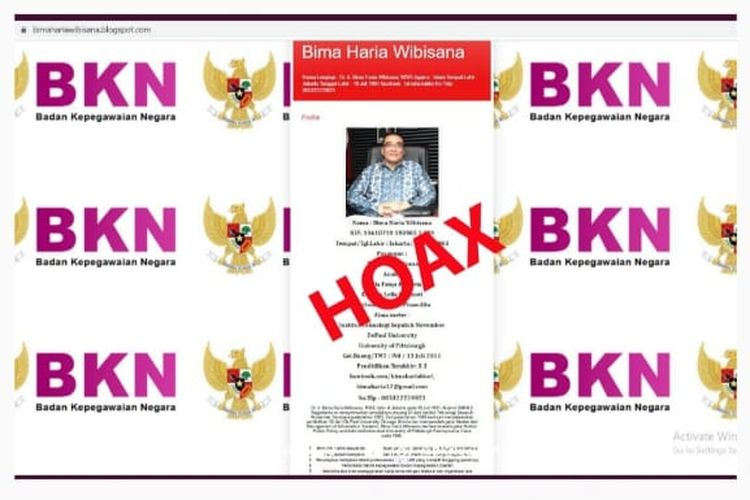 Blog palsu mengatasnamakan Kepala BKN, Bima Haria Wibisana.