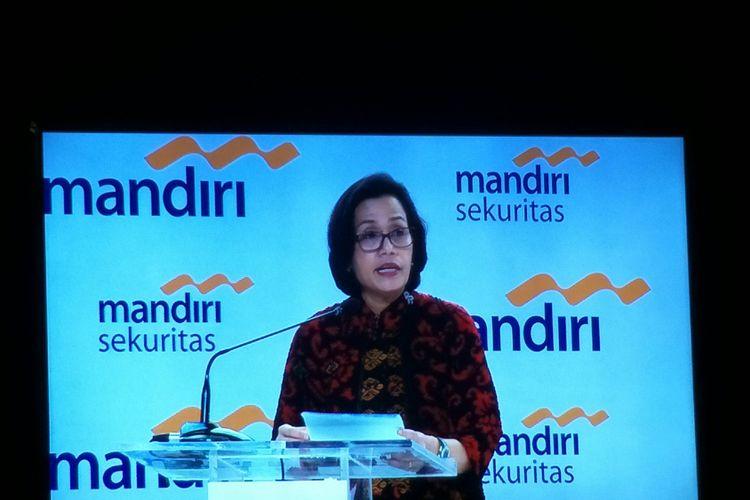 Menteri Keuangan Sri Mulyani Indrawati saat menjadi pembicara di acara Mandiri Investment Forum di Jakarta, Rabu (7/2/2018).