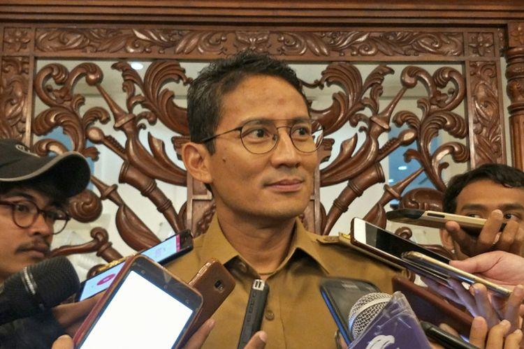 Wakil Gubernur DKI Jakarta Sandiaga Uno di Balai Kota DKI Jakarta, Jalan Medan Merdeka Selatan, Senin (4/12/2017).
