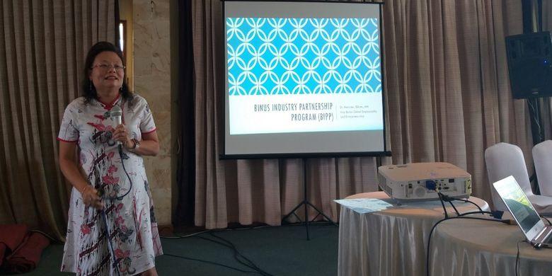 Dr Meyliana, Wakil Rektor Binus University, pada seminar Digitalpreneur in Industrialization 4.0 dalam rangka peresmian kampus Digital Technology Entrepreneurship Binus Malang, Araya Mansion, Malang, Rabu (20/2/2019).