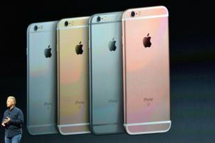 iPhone 6s dan 6s Plus saat diluncurkan, Rabu (9/9/2015).