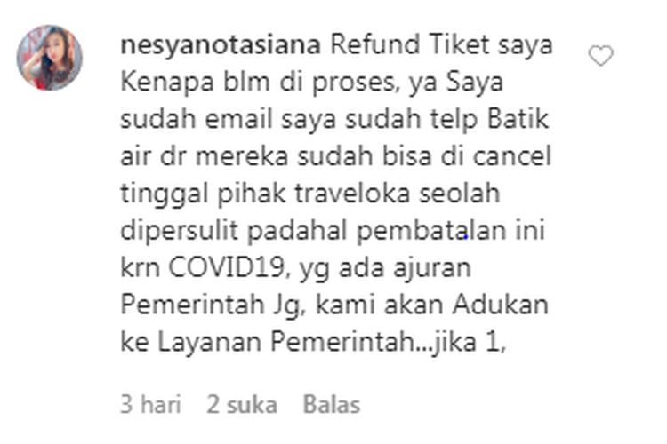 Contoh aduan konsumen pada OTA Traveloka terkait keterlambatan respon terkait refund