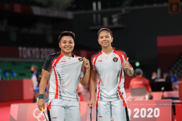 Pasangan ganda putri Indonesia Greysia Polii/Apriyani Rahayu di panggung Olimpiade Tokyo 2020