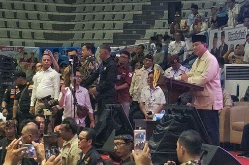 Saat Pembekalan Relawan, Prabowo Sebut Tak Peduli Hasil Survei