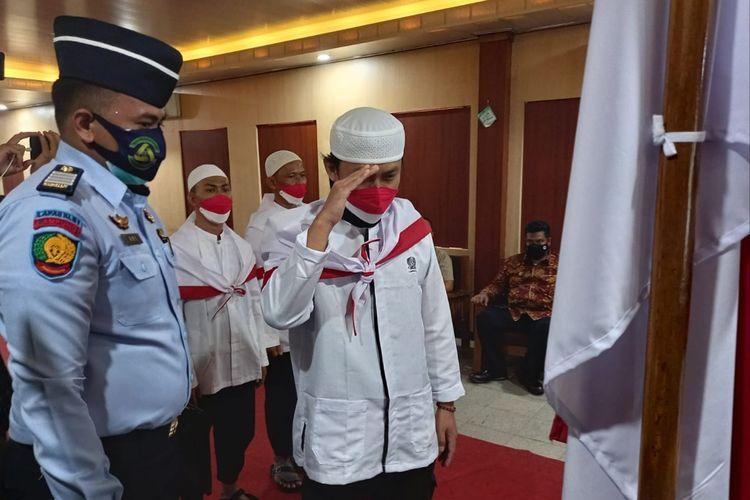 Empat napi terorisme kembali ke NKRI dan melepas baiat kepada pimpinan ISIS di Lapas Bandar Lampung, Selasa (28/9/2021).