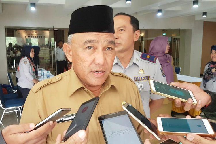 Wali Kota Depok Mohammad Idris usai menghadiri acara K MUTRANS-2 di Gedung Balairung Dwidjosewojo Hotel Bumi Wiyata Depok, Senin (16/12/2019).