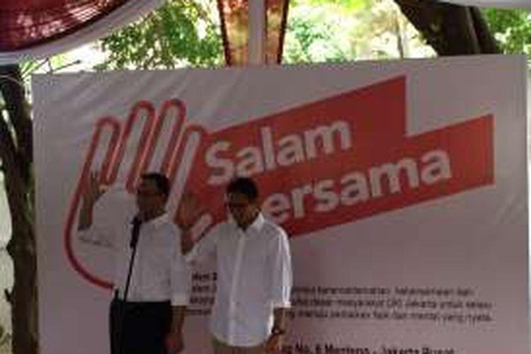 Pasangan calon gubernur dan wakil gubernur, Anies Baswedan dan Sandiaga Uno, meluncurkan logo kampanye Pilkada DKI Jakarta 2017.