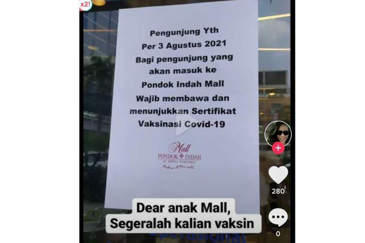 Viral di media sosial TikTok, sebuah video rekaman yang menampilkan pengumuman tertulis tentang aturan baru yang harus dipatuhi ketika masuk ke Pondok Indah Mall (PIM) Jakarta Selatan.