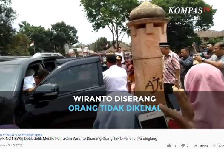 Video detik-detik Menko Polhukam Wiranto ditusuk orang tak dikenal, Kamis (10/10/2019).
