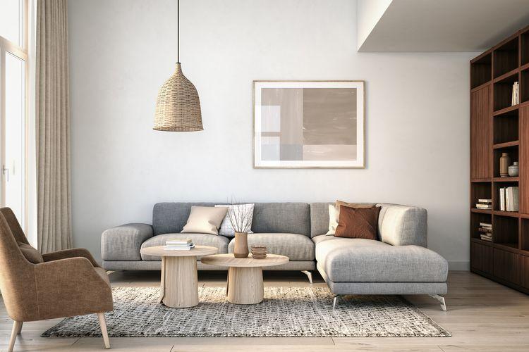Ilustrasi interior rumah ala Skandinavia.