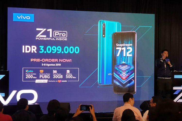 Smartphone terbaru Vivo, Z1 Pro diluncurkan untuk pasar Indonesia pada Senin (5/8/2019) di Jakarta.