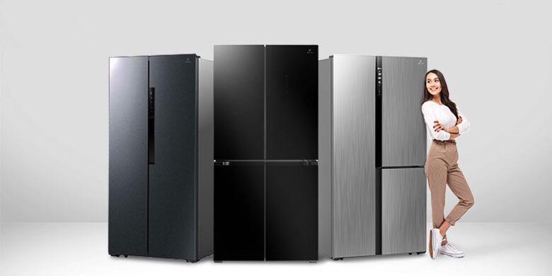 Tampilan tiga tipe terbaru lemari es New Belleza Inverter