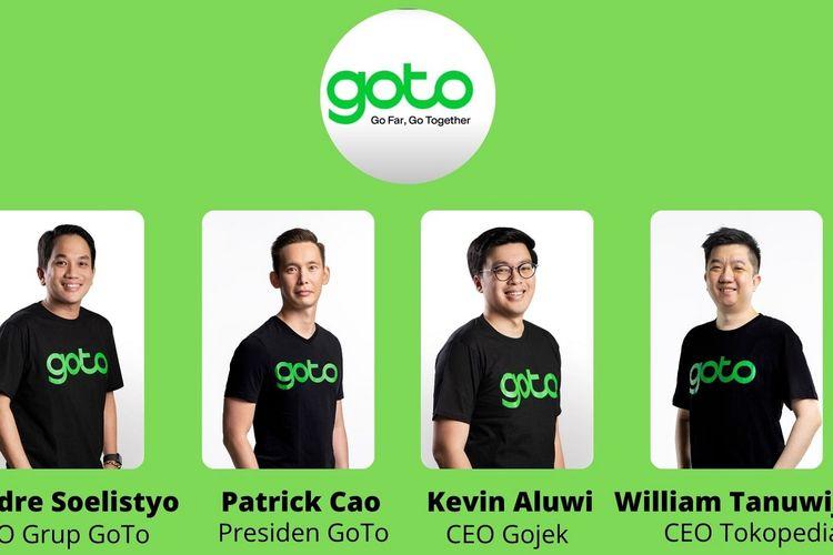 (ki-ka) Andre Soelistyo menjabat sebagai CEO Grup GoTo, Patrick Cao sebagai Presiden GoTo, Kevin Aluwi tetap menjabat CEO Gojek begitu pula dengan William Tanuwijaya yang tetap menjabat sebagai CEO Tokopedia.