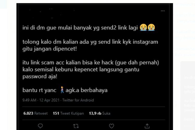 Tangkapan layar unggahan soal dugaan terjadi phising melalui DM Instagram.