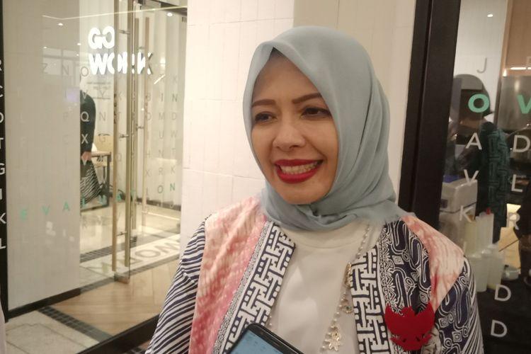 Istri Sandiaga Uno, Nur Asia Uno ketika ditemui di sela Plaza Indonesia Fashion Week, Senin (18/3/2019).
