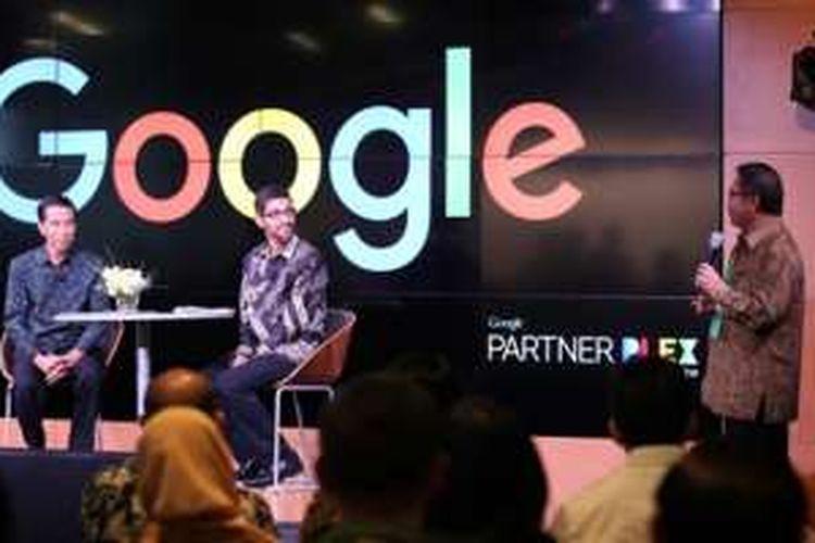 (Ki-ka) Presiden Republik Indonesia Joko Widodo, CEO Google Sundar Pichai, Menkominfo Rudiantara
