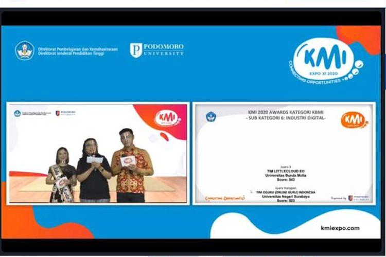 Tim entrepreneur UBM mengikuti Expo Kewirausahaan Mahasiswa Indonesia (Expo KMI-XI-2020) yang diselenggarakan Direktorat Pembelajaran dan Kemahasiswaan Dirjen Dikti.