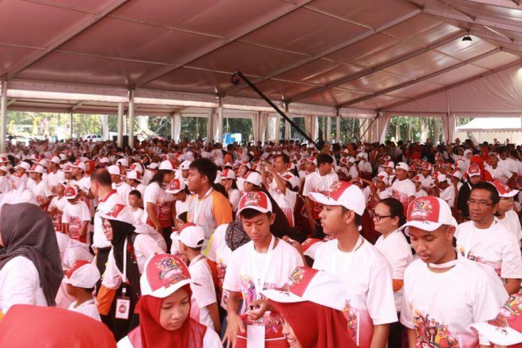 Sekitar 3000 Anak meramaikan Hari Anak Nasional (HAN) di Kebun Raya Purwodadi, Kabupaten Pasuruan, Senin (23/7/2018).
