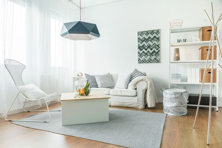 Ilustrasi ruang tamu minimalis.