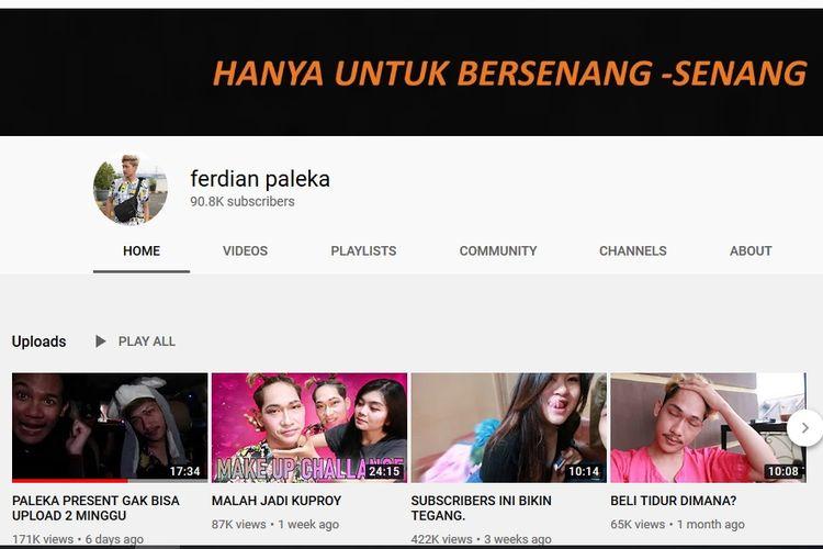 Halaman YouTube Ferdian Paleka.