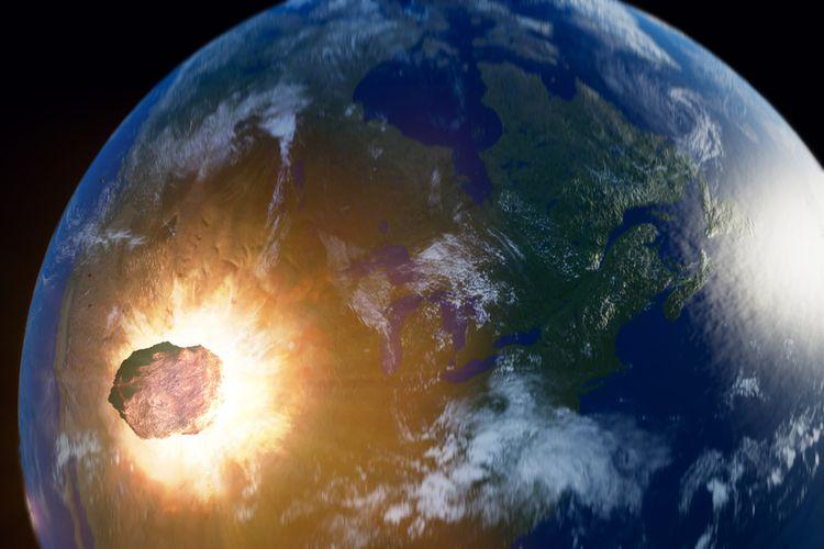 Ilustrasi asteroid raksasa mendekati Bumi