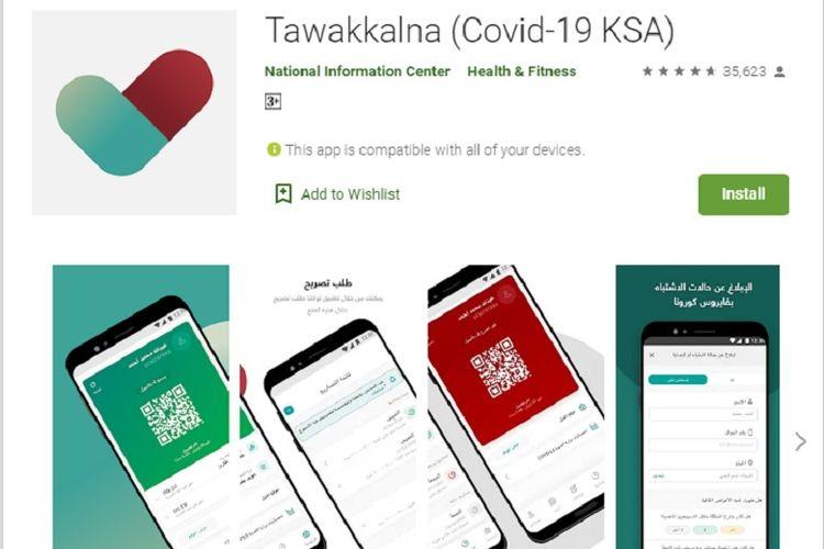 Aplikasi Tawakkalna yang dikeluarkan Kerajaan Arab Saudi.
