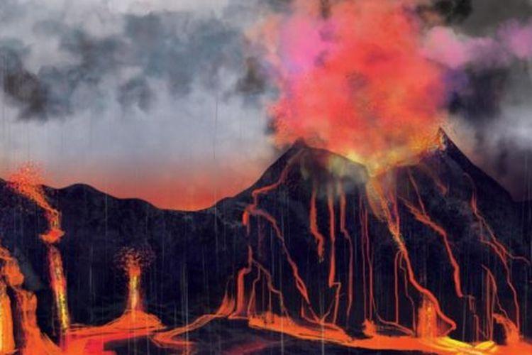 Ilustrasi erupsi gunung berapi dibarengi hujan asam