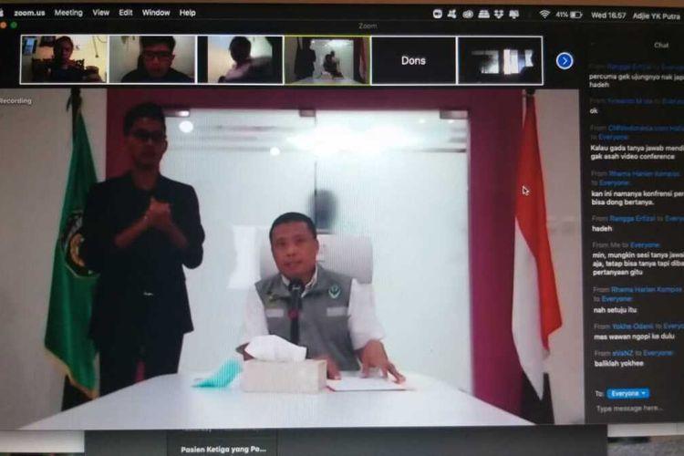 Juru Bicara Gugus Tugas Penanganan Covid-19 Sumatera Selatan, Yusri saat mengumumkan perkembangan kasus Covid-19 di Sumsel, secara virtual, Rabu (1/4/2020).