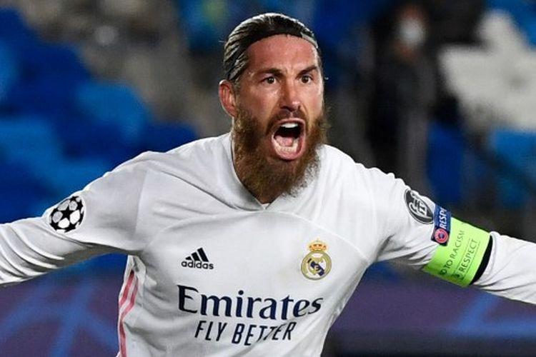 Sergio Ramos merayakan golnya pada laga ketiga Grup B Liga Champions yang mempertemukan Real Madrid vs Inter Milan di Stadion Alfredo Di Stefano, Rabu (4/11/2020) dini hari WIB.
