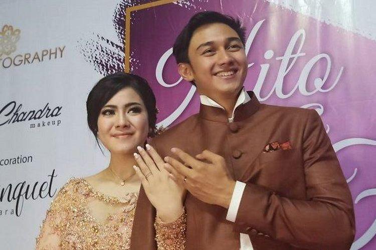 Pasangan pesinetron Caesar Hito dan Felicya Angelista resmi bertunangan di kawasan Pantai Mutiara, Jakarta Utara, Sabtu (8/2/2020) sore.