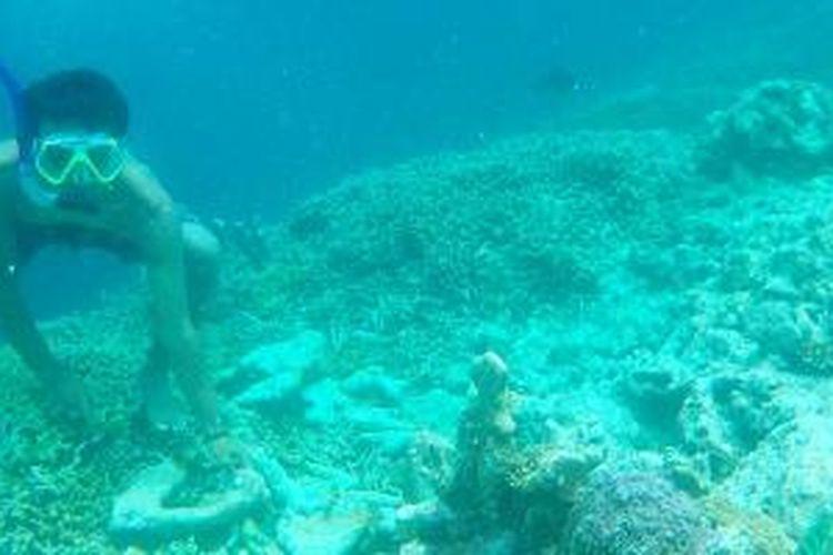 Wisatawan menyelam di perairan Pulau Maratua, Kabupaten Berau, Kalimantan Timur, Sabtu (6/12/2014). Kepulauan Derawan, dengan pulau utama Derawan, Sangalaki, Maratua, dan Kakaban, menyimpan keindahan bawah laut yang memesona.