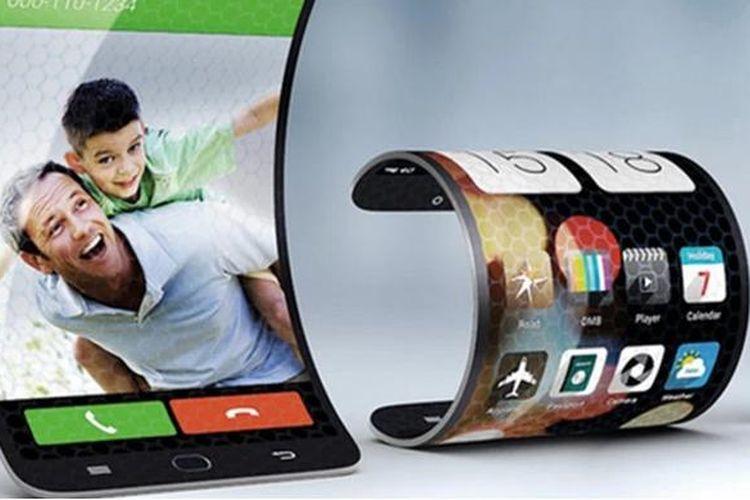 Ilustrasi ponsel layar lipat