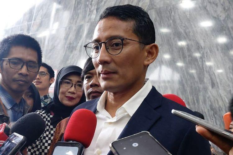 Wakil Ketua Dewan Pembina Gerindra Sandiaga Uno di DPR, Senayan, Jakarta, Selasa (4/2/2020).