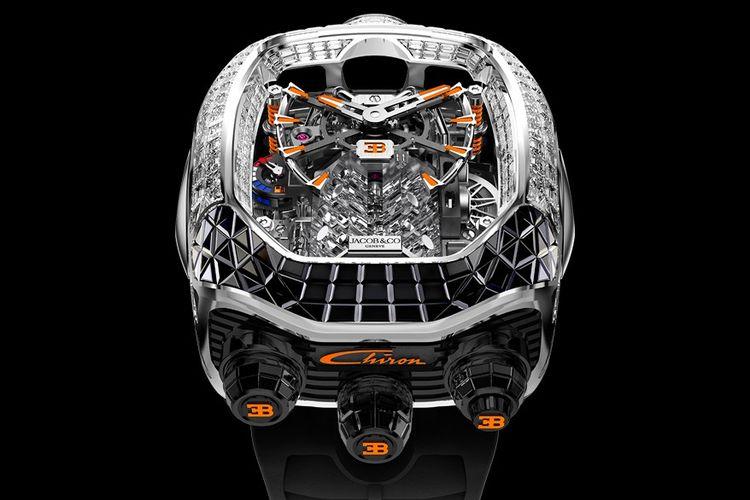 Jacob & Co x Bugatti Chiron Tourbillon Baguette Black and Orange