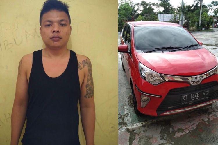 Andi Rahman (27) dan mobil hasil curian saat diamankan Polsekta Muara Jawa, Kutai Kertanegara, Kaltim Sabtu (11/4/2020).