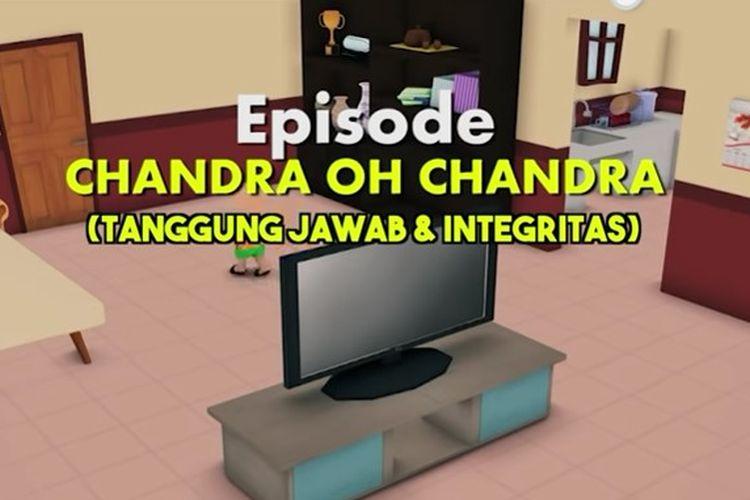 Tangkapan layar Belajar dari Rumah TVRI 22 Juli 2020 SD Kelas 1-3 tentang Chandra Oh Chandra (Tanggung Jawab dan Integritas).
