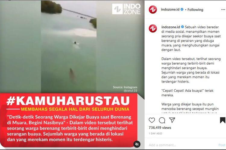 Tangkapan layar unggahan Instagram soal video seseorang dikejar buaya saat berenang