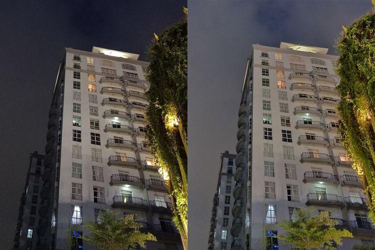 Oppo F11 Pro kini dibekali fitur Nightscape, khusus untuk mengambil gambar di malam hari. Namun, perbedaan ketika fitur ini diaktifkan (foto kanan) baru akan terlihat ketika kondisi benar-benar gelap.