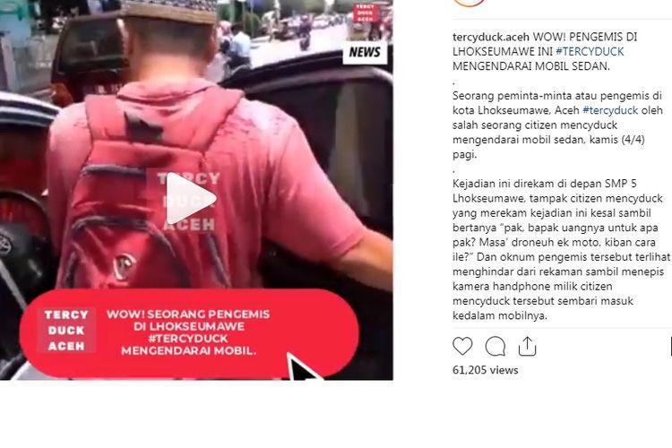 Pengemis bermobil di Aceh yang viral di Instagram dan Twitter.