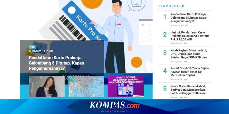 [POPULER TREN] Pengumuman Penerima Kartu Prakerja Gelombang 8   Daftar Sanksi bagi Pelanggar Protokol Kesehatan PSBB Jakarta