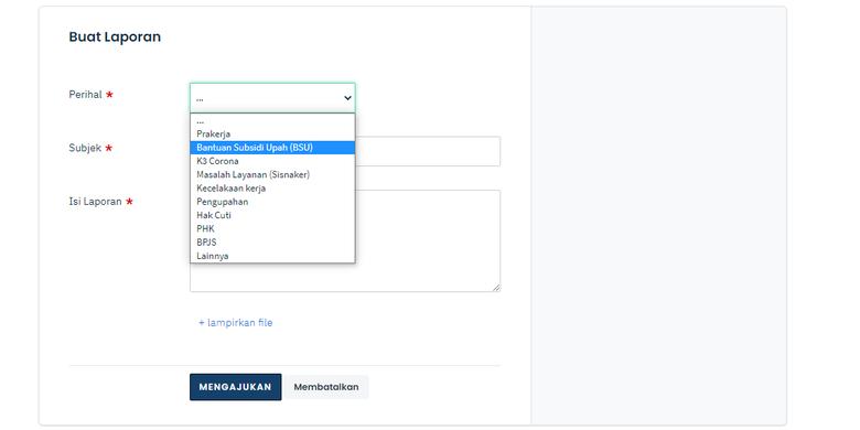Tangkapan layar formulir pengaduan di web Kemnaker