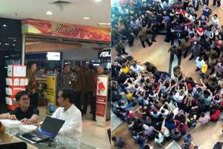 Presiden Joko Widodo mengunjungi gerai toko elektronik Bhinneka di Mangga Dua Mall, Jakarta, Minggu (18/9/2016) dengan didampingi putra bungsunya, Kaesang Pangarep (foto kiri). Kunjungan Presiden menimbulkan kehebohan di pusat belanja tersebut, sebagaimana diabadikan pengguna Instagram bernama adipotret